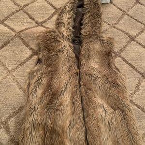 Faux fur vest with hood
